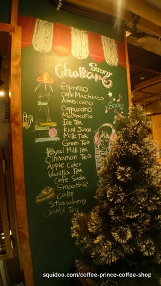 Chalk art and product list.