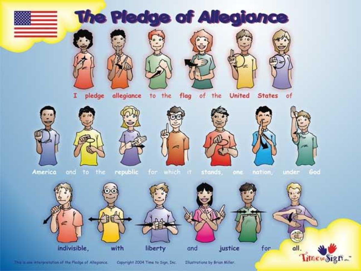 Colorful Sign Language Poster for Pledge of Allegiance