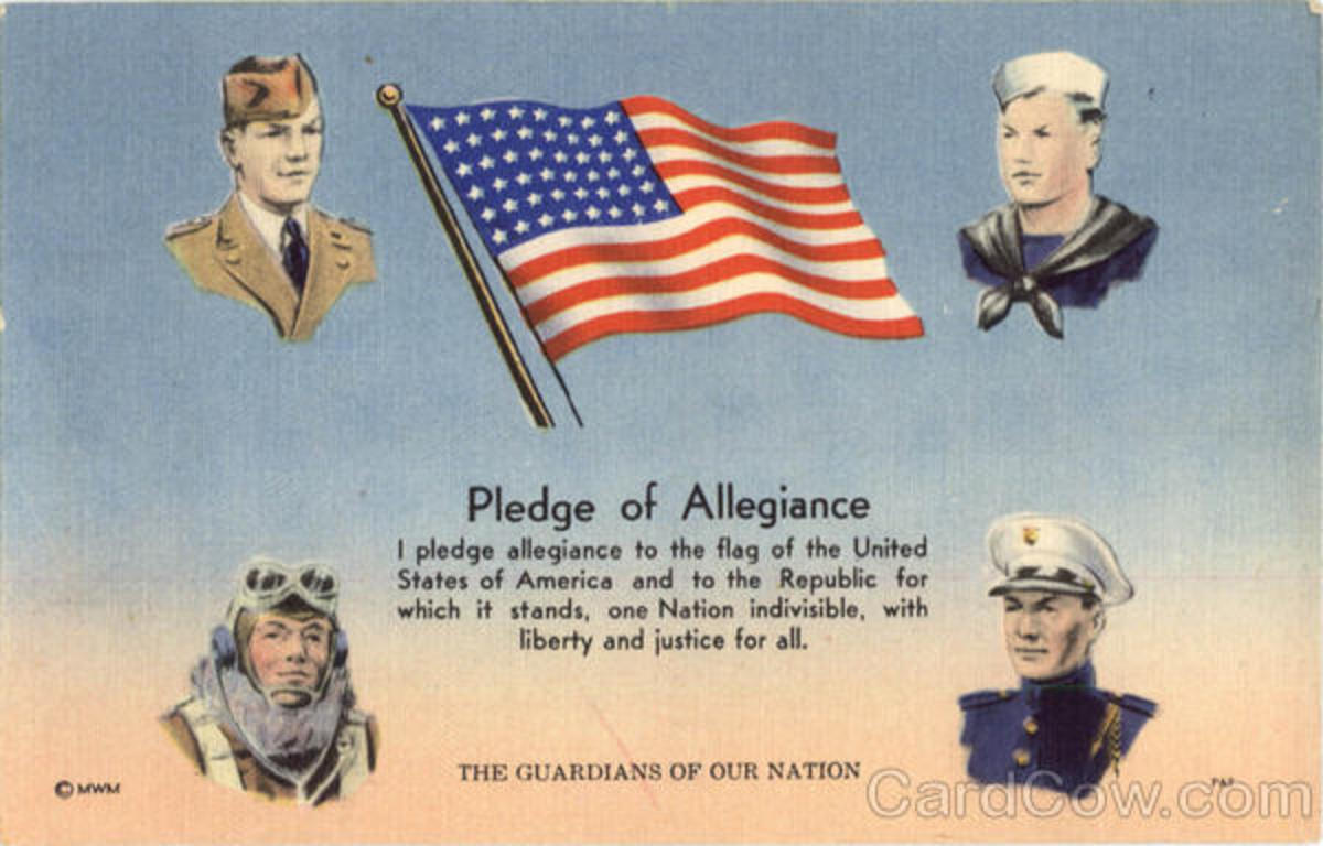 Pledge of Allegiance colorful poster with American flag and four branches of the military depicted by uniform and hat