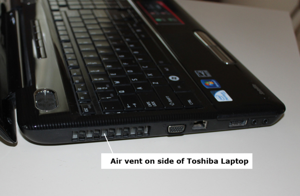 air vents on side of Toshiba Laptop Computer