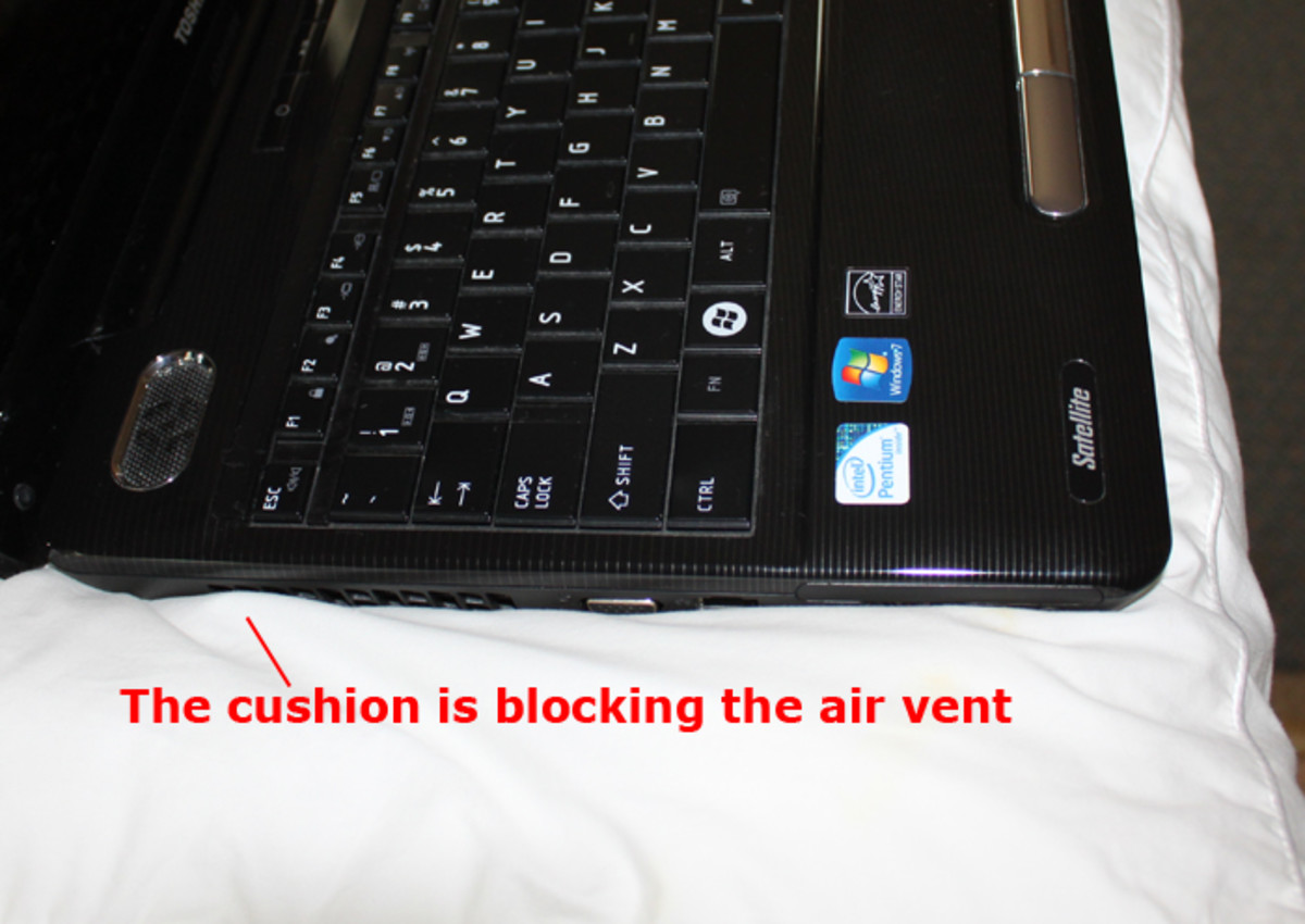 Cushion blocking air vent on a Toshiba Laptop Computer