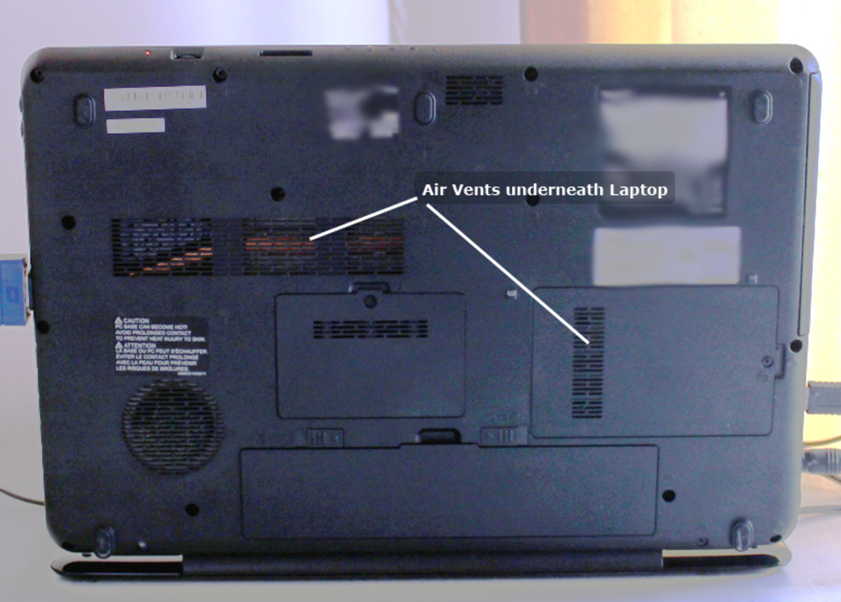 Air vents underneath a Toshiba Laptop Computer must always allow air flow