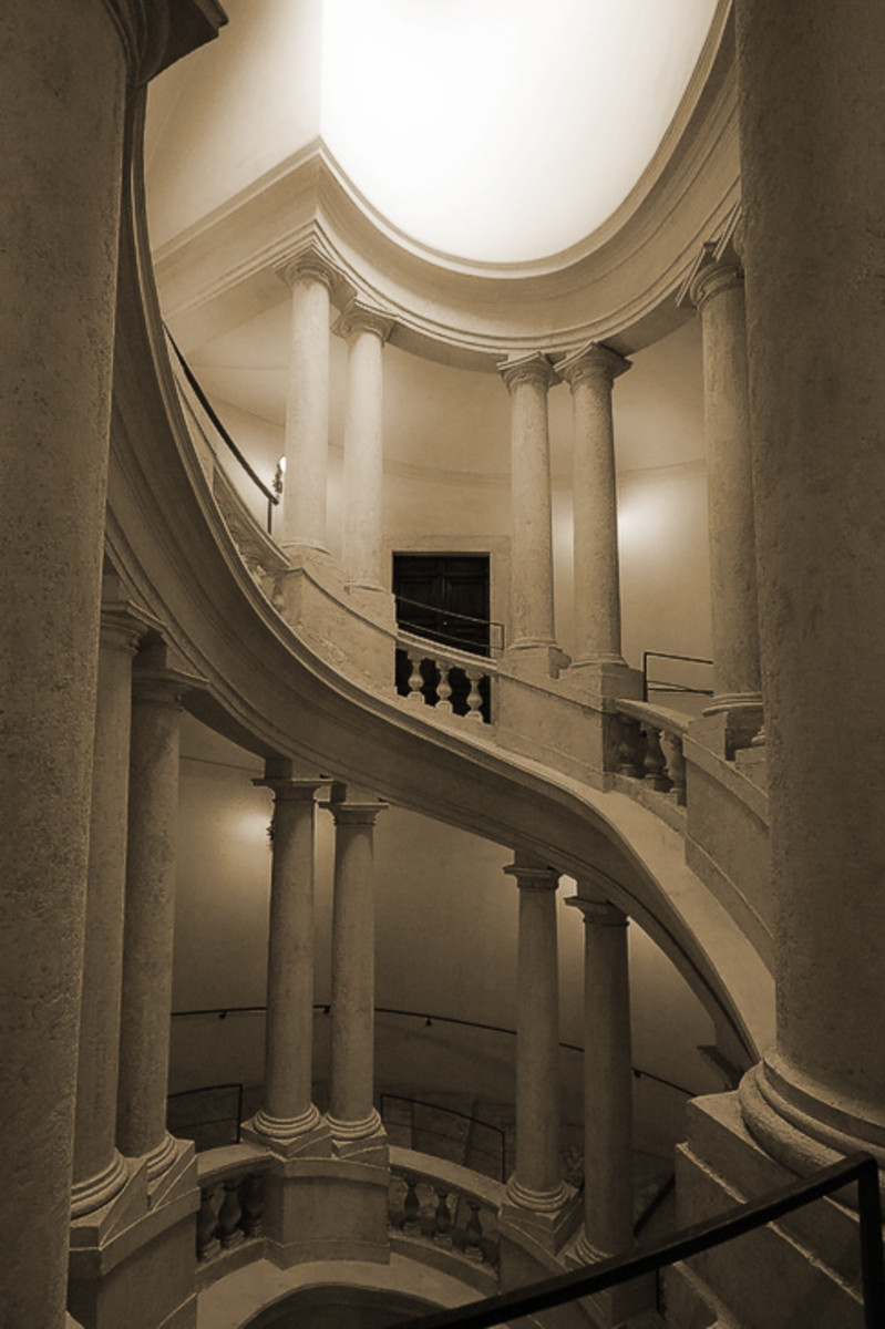 Francesco Borrormini (1599-1667) designed this staircase for Palazzo Bernini.  An oval oculus allows light to spill down over the sweeping stair creating the dramatic chiaroscuro so loved by artisans of the Baroque.