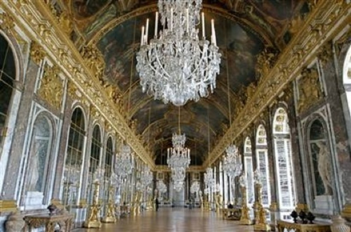 The Hall of Mirrors in the Palace of Versailles is characterized by seventeen mirrors that mimic the size and shape of the windows directly opposite to them.  This had the effect of flooding the hall with light so that everything sparkled.