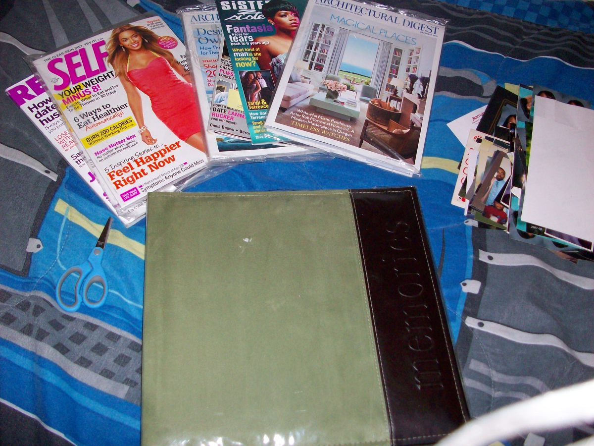 Some materials needed for scrapbooking.