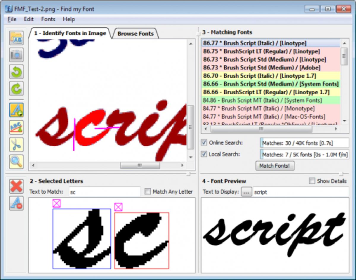 Font Finder font-detection software.