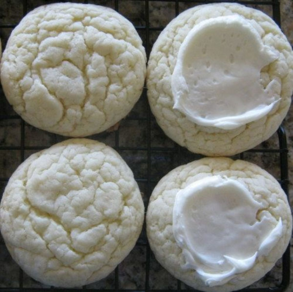 ... White Cookies from Cake Mix (vanilla cake mix with vanilla frosting