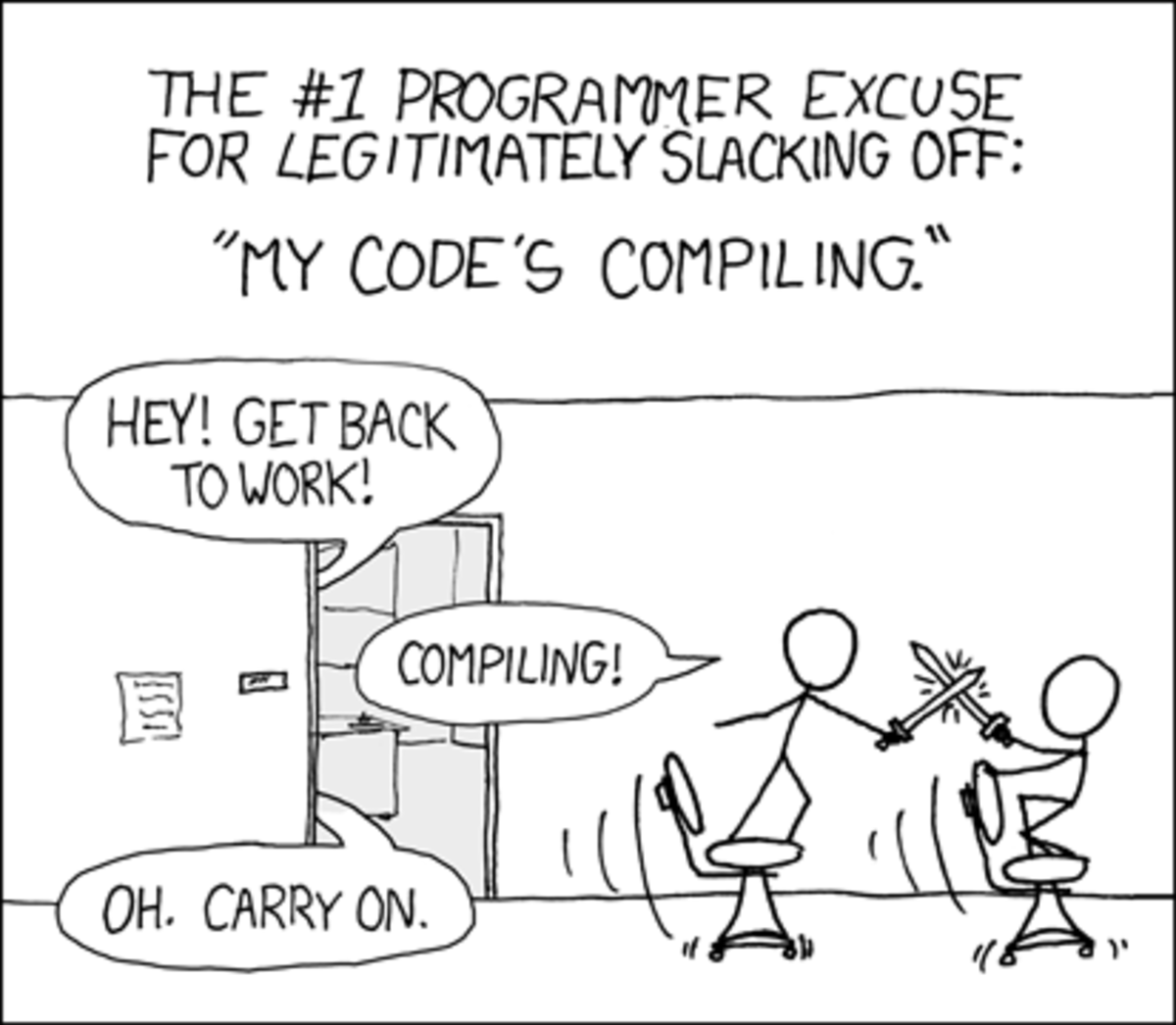 Hover: 'Are you stealing those LCDs?' 'Yeah, but I'm doing it while my code compiles.'