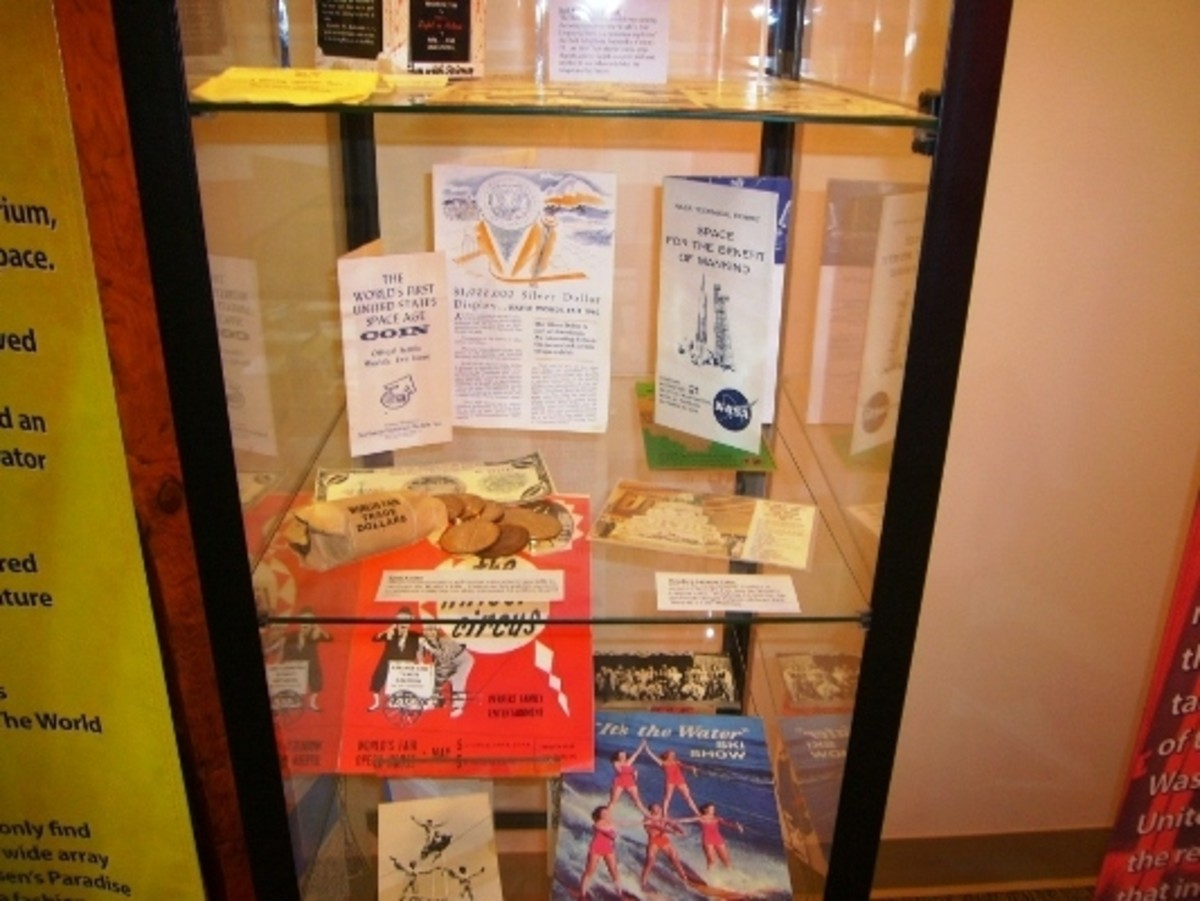 Commemorative coins and other memorabilia on display inside the Seattle World's Fair Museum.