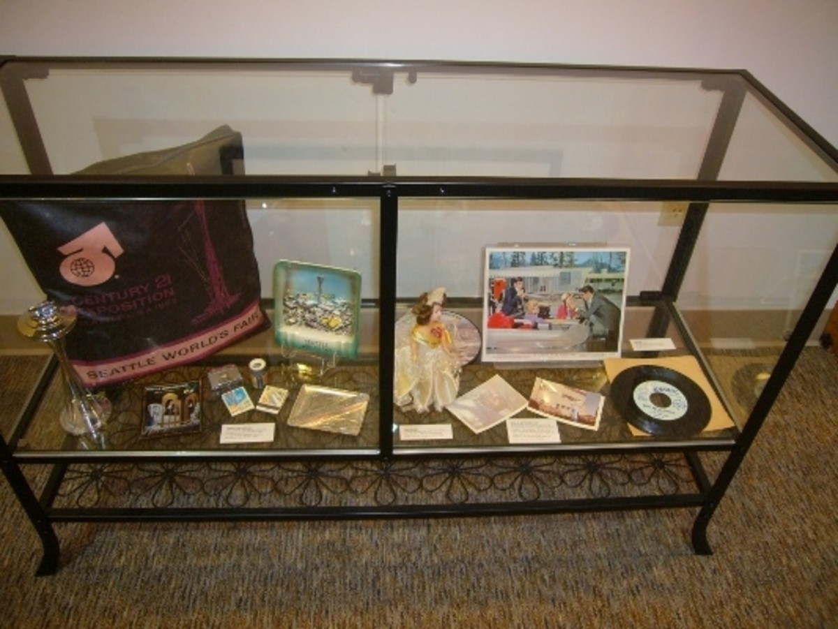 A display of some of the Century 21 Expo memorabilia inside the Seattle World's Fair Museum