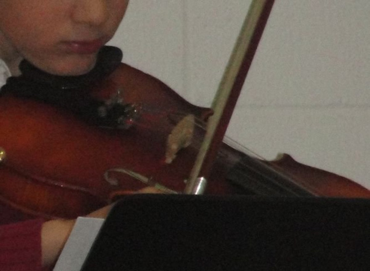 Each of the children got to play musical instruments they brought, including this violin.