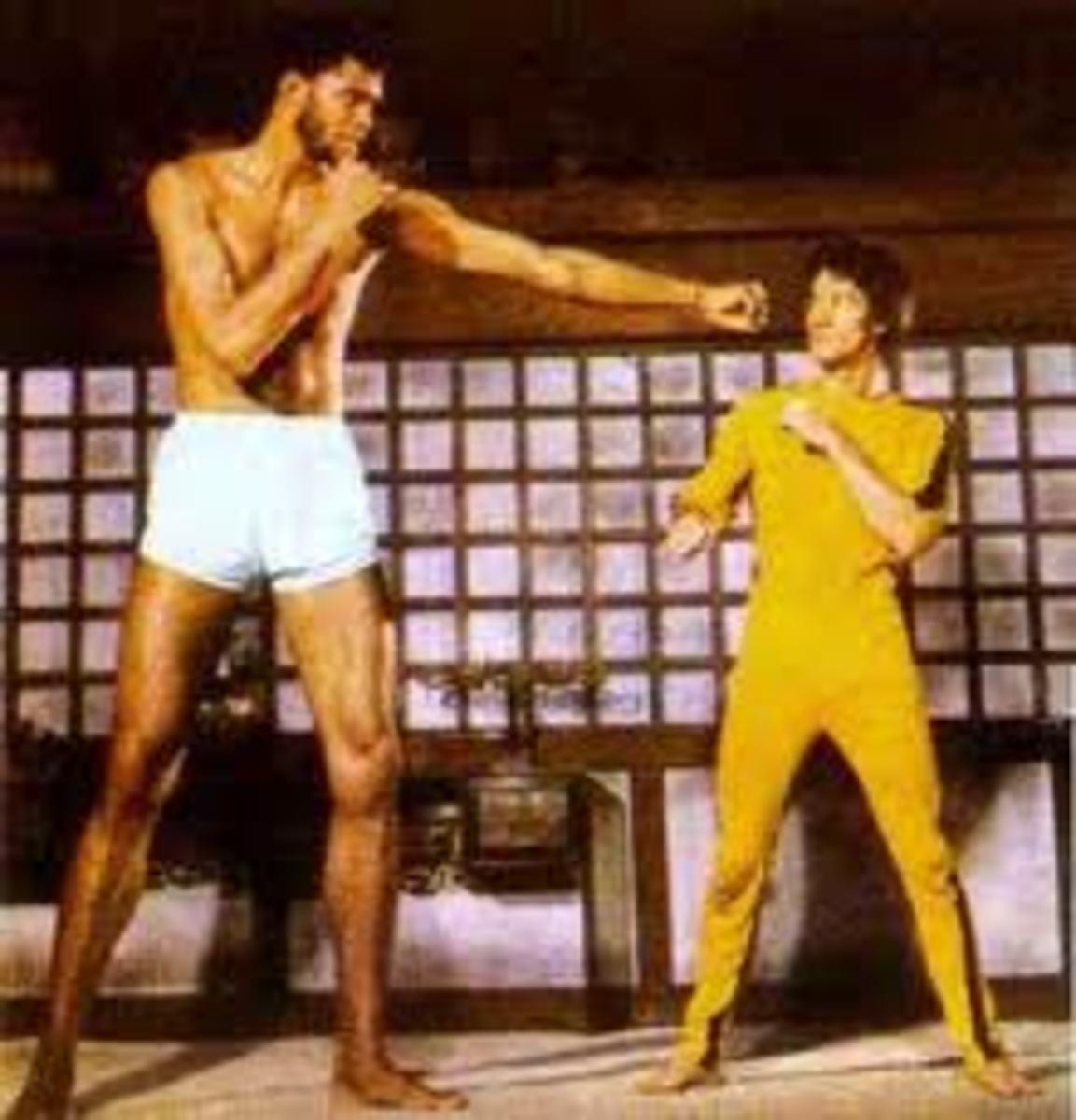 Kareem Abdul Jabbar 7 ft. 2  and Bruce 5 ft. 7