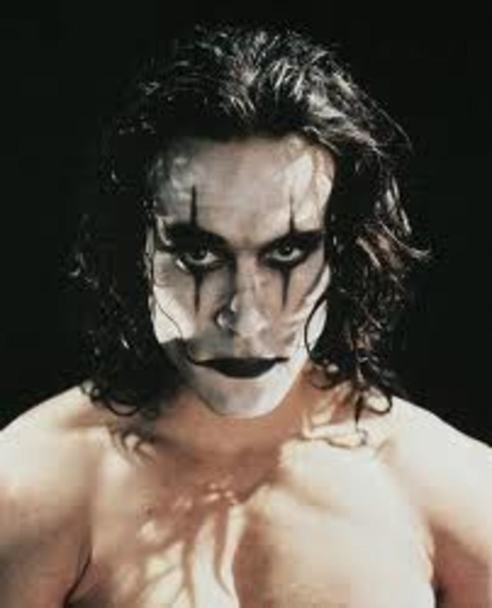 "Brandon in full makeup on ""The Crow"" set"