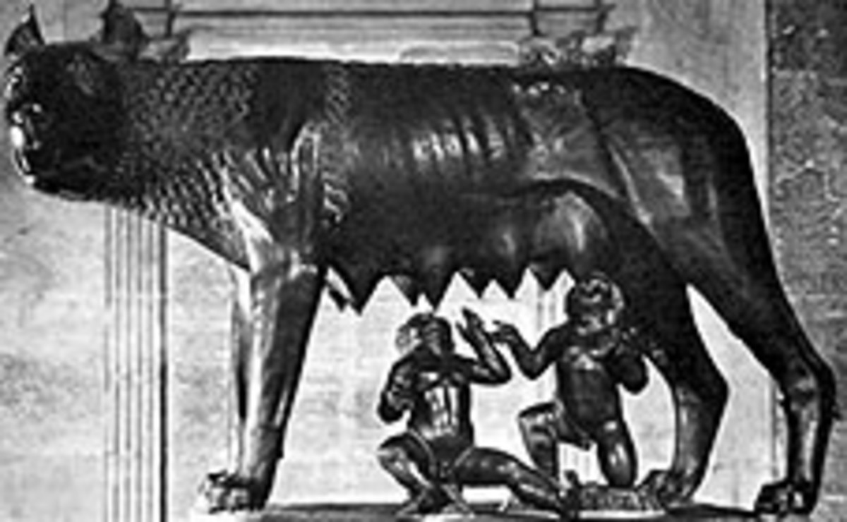 "The she-wolf Lupercus who was said to suckle the ""Hero Twins"" Romulus and Remus."