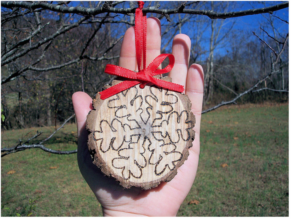 Tree slices + wood burning tool + ribbon = pretty ornaments which would be perfect for Christmas presents.