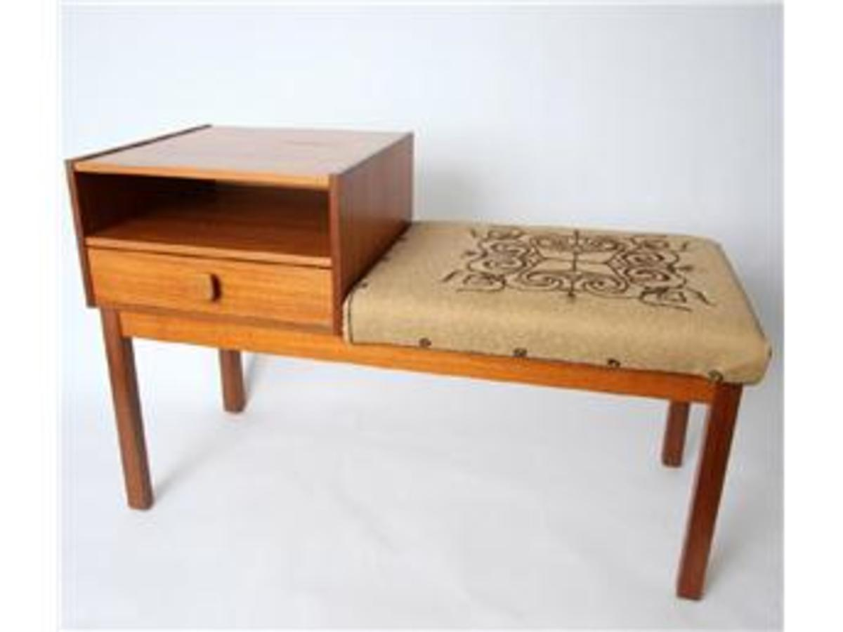 """A """"phone-table"""". This was the place to sit when talking on the phone!"""