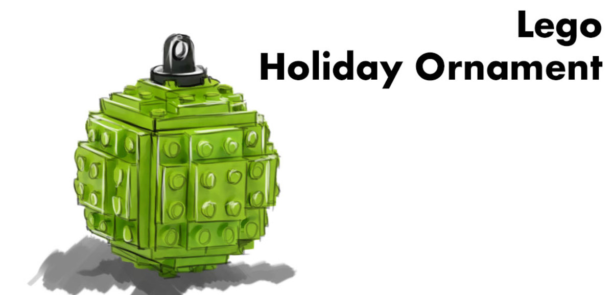 Christmas-tree ornament made of Legos.