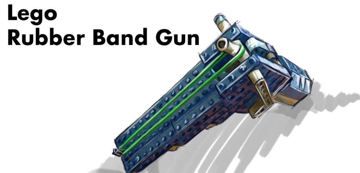 Snapping rubber-band gun made of Legos.