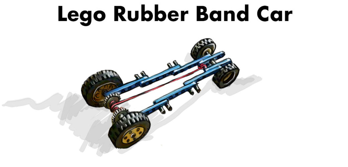 Rubber-band powered Lego car.