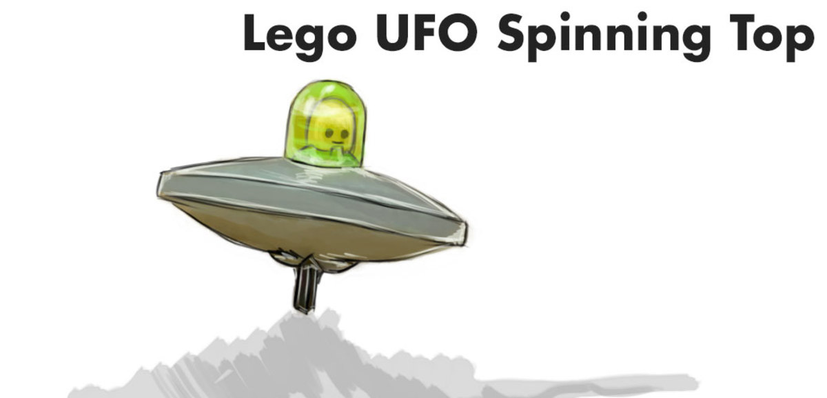 Lego spinning top that looks like a space alien.