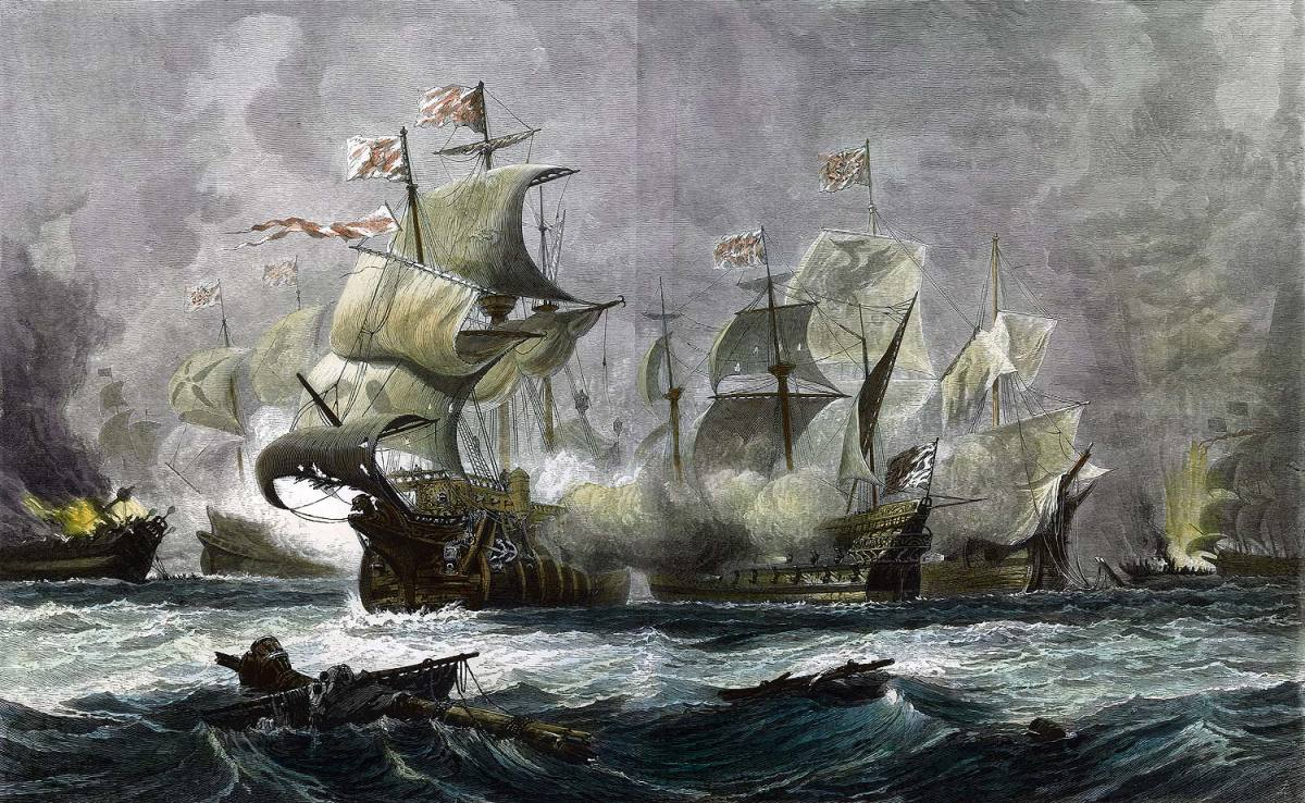 July, 1588 - The Spanish Armada Defeated By English Navy!!