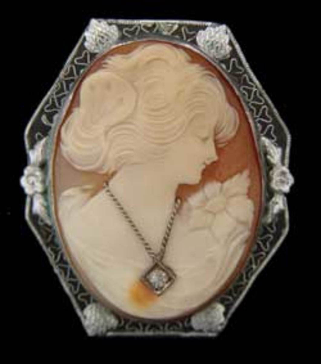 An Antique Cameo With Diamond Accents