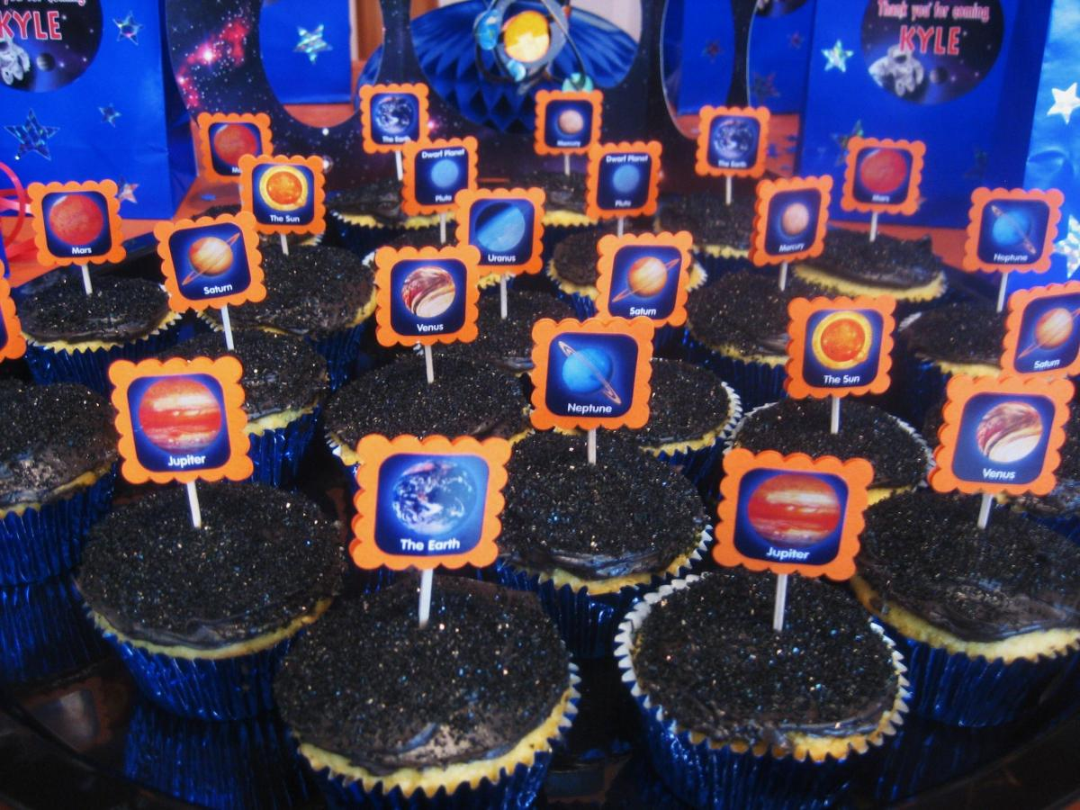 These are the space cupcakes we served at the party.