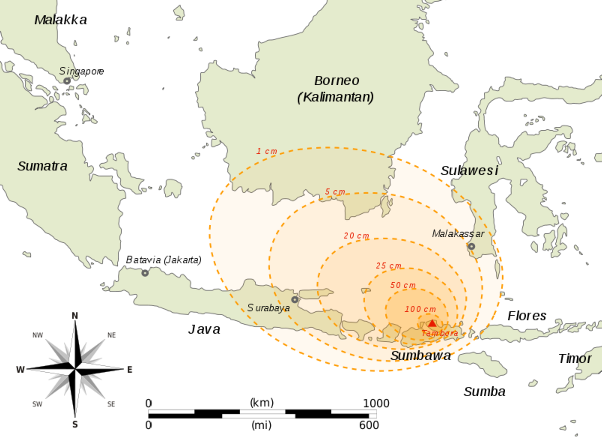 Map of part of SE Asia (mostly Indonesia) showing the thickness of ashfall after the 1815 Tambora eruption.