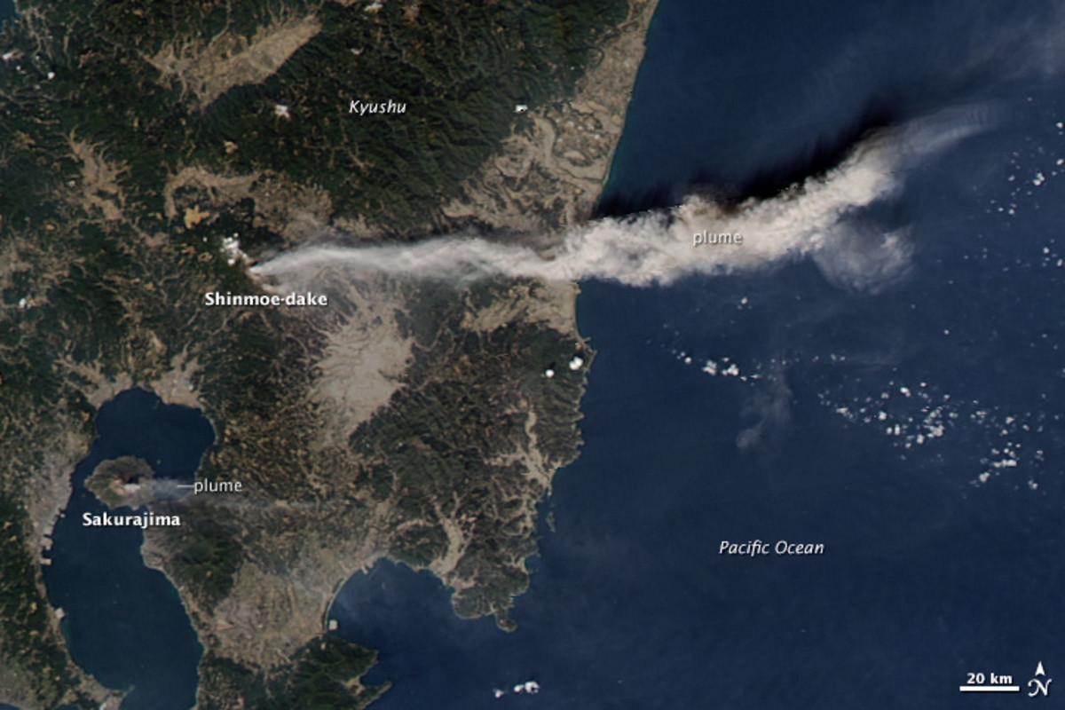 Satellite picture of Mount Shinmoe (Shinmoe-dake) in Mount Kirishima, Japan. 3 Feb 2011