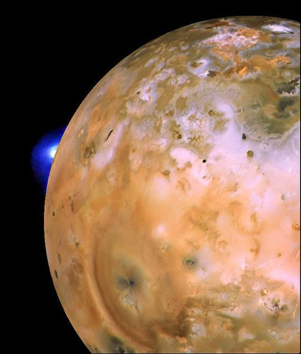 Voyager 1 image of Io (moon on Jupiter) showing active plume of Loki.
