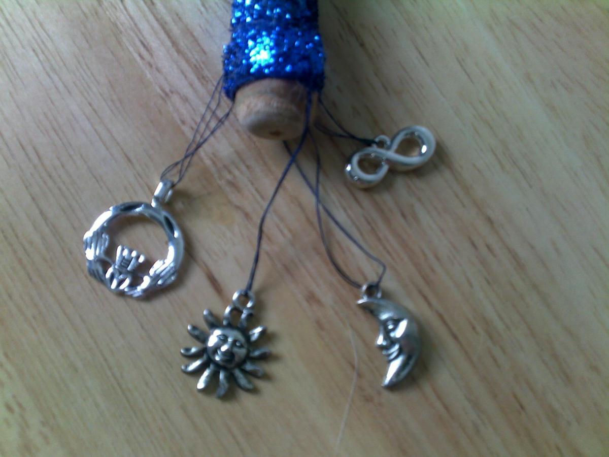 Bottom charms (Claddaugh, sun, moon, infinity)