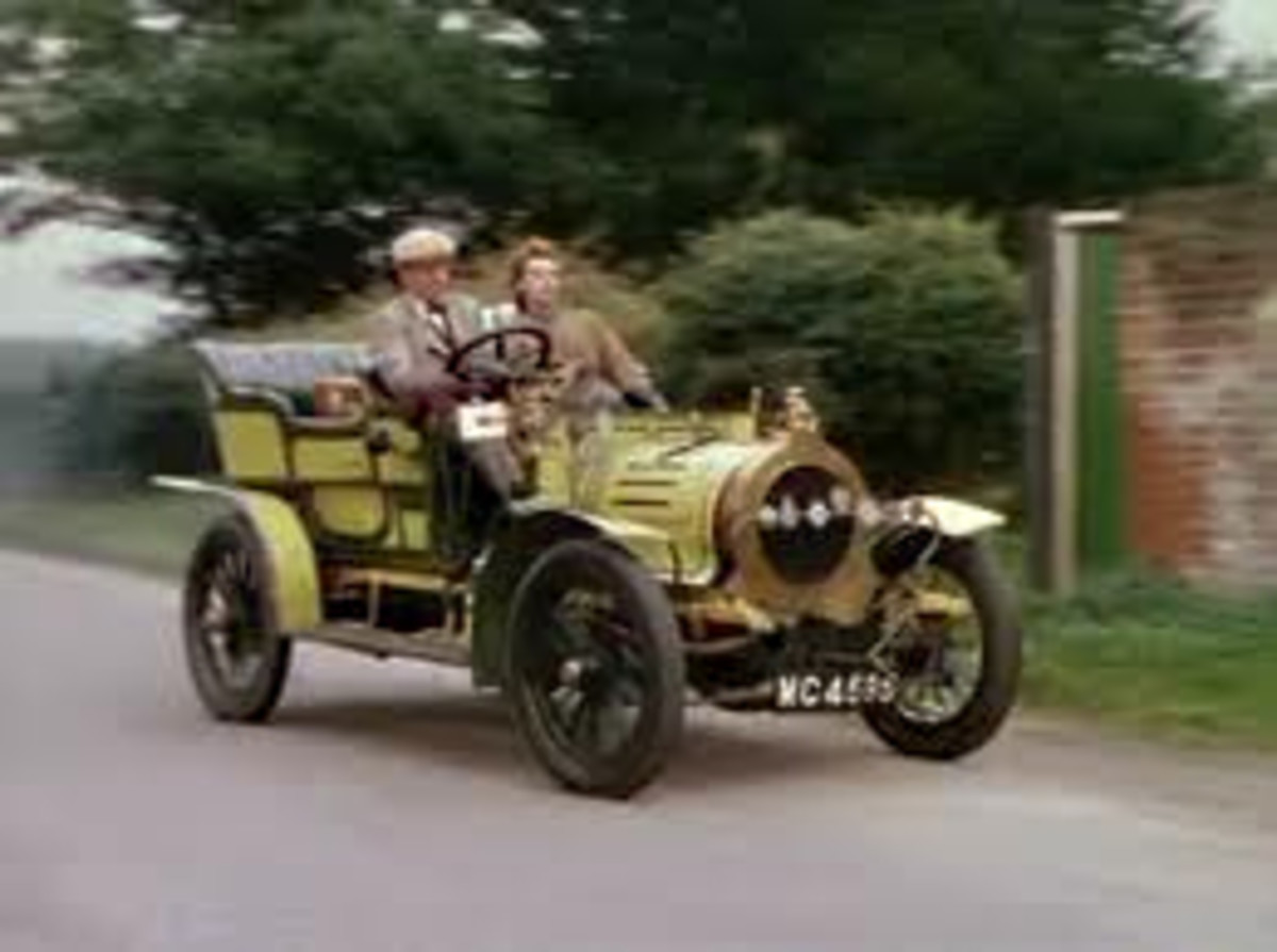This is Genevieve's rival, the 1904 Spyker with Kenneth More at the wheel, and Kay Kendall