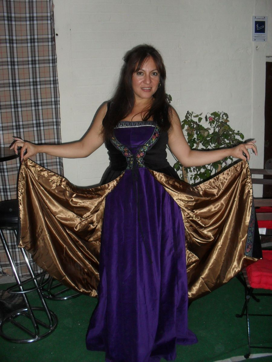 Me Wearing  A two piece costume with black velvet overdress from HalloweenCostumes.com