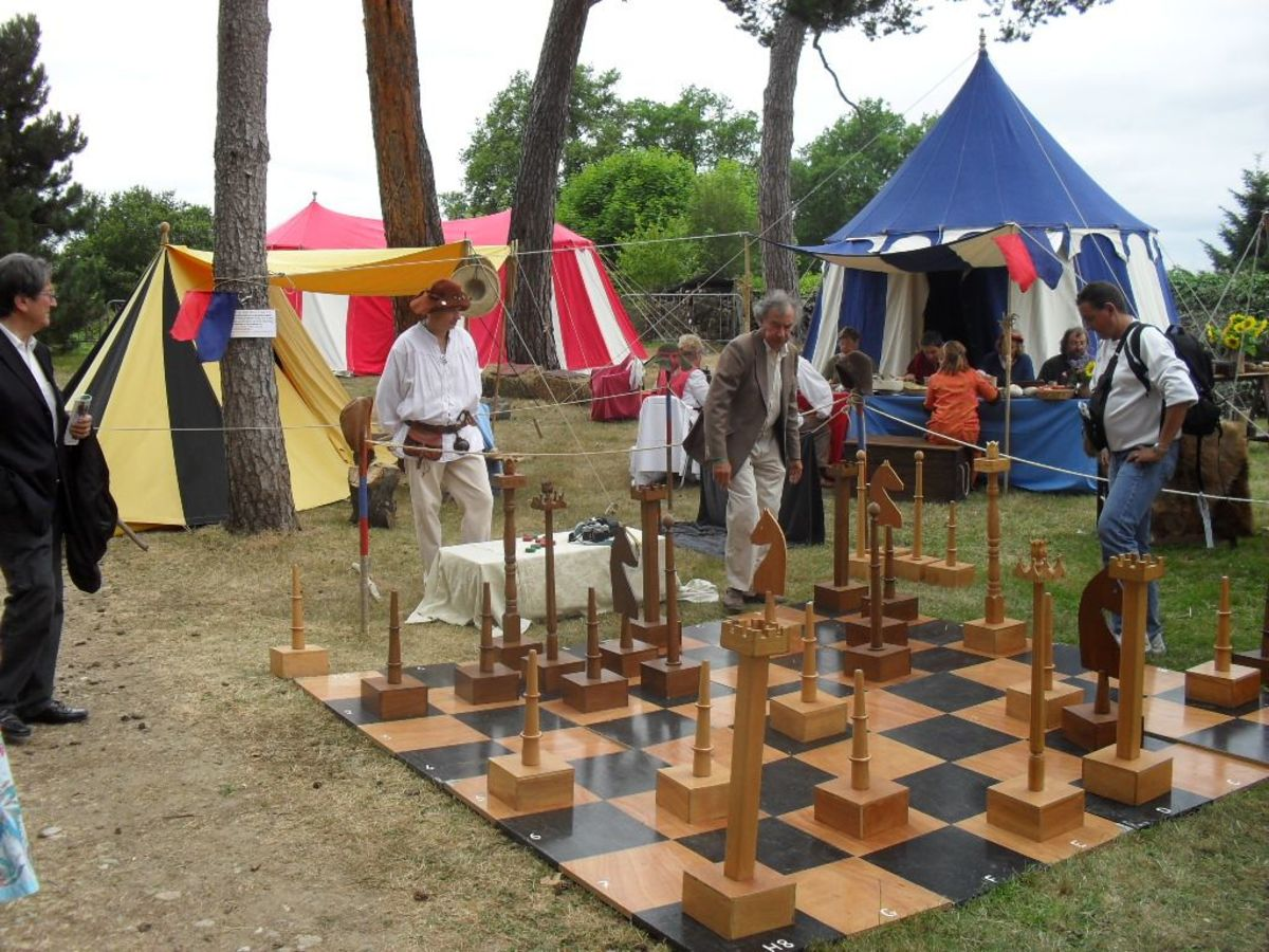 Playing medieval games at a medieval party