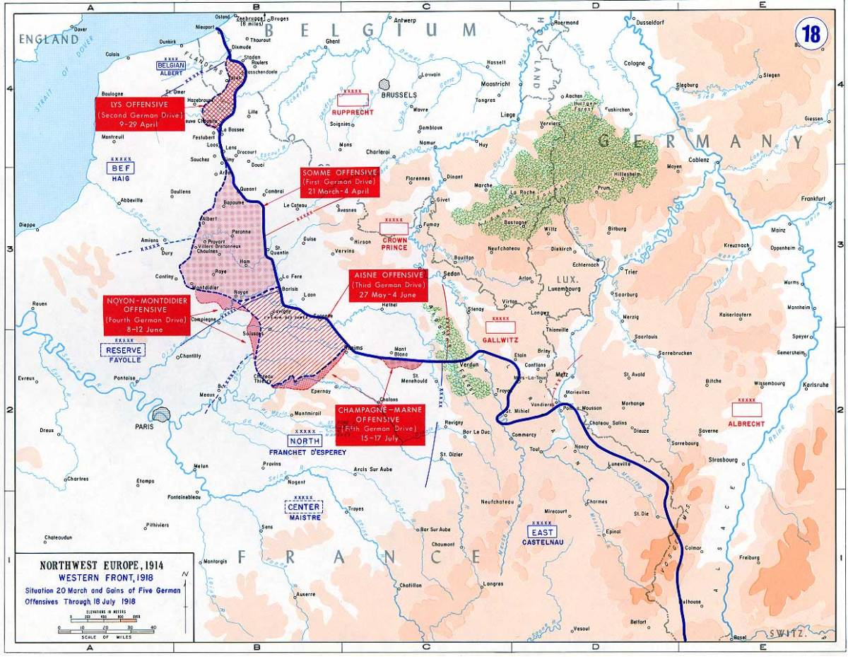 'Map of the final German offensives on the Western Front (World War I), 1918 ~ From the History Department of the US Military Academy West Point' . See: http://en.wikipedia.org/wiki/File:Western_front_1918_german.jpg