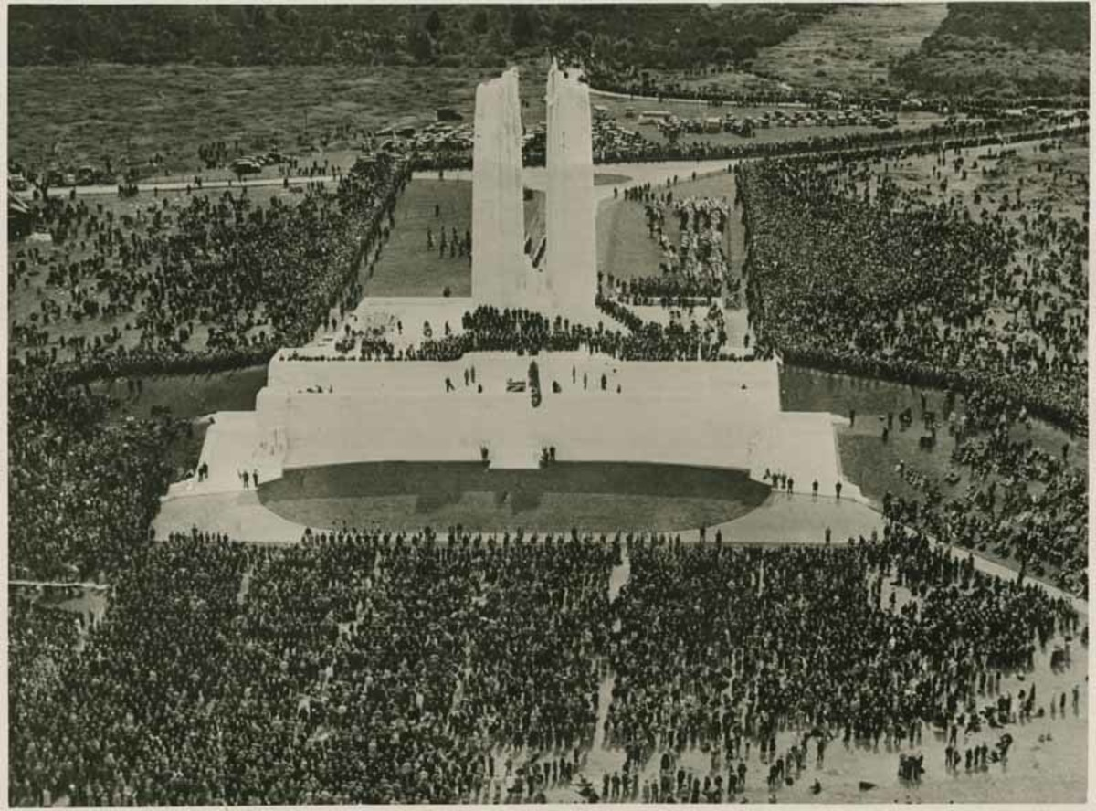 Source: McMaster University Libraries, Identifier: 00000647 [1] Author: La Burthe & Warolin . ttp://en.wikipedia.org/wiki/File:Vimy_Dedication_-_aerial_shot_of_ceremony.jpg