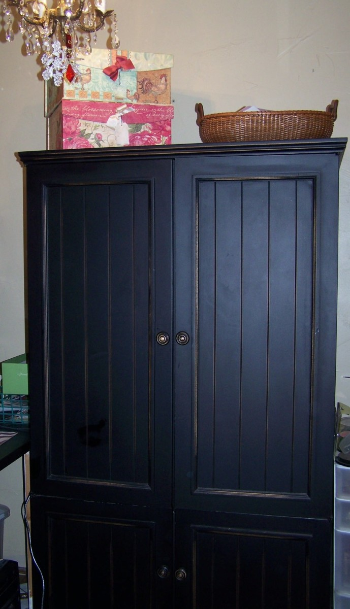 what to do with an old armoire or tv cabinet repurpose. Black Bedroom Furniture Sets. Home Design Ideas