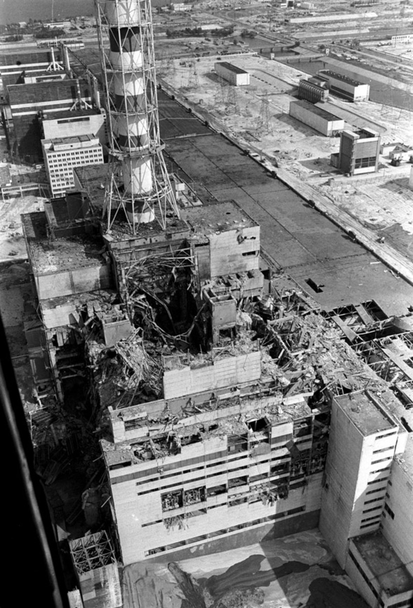 Chernobyl reactor number 4 a few days after the explosion