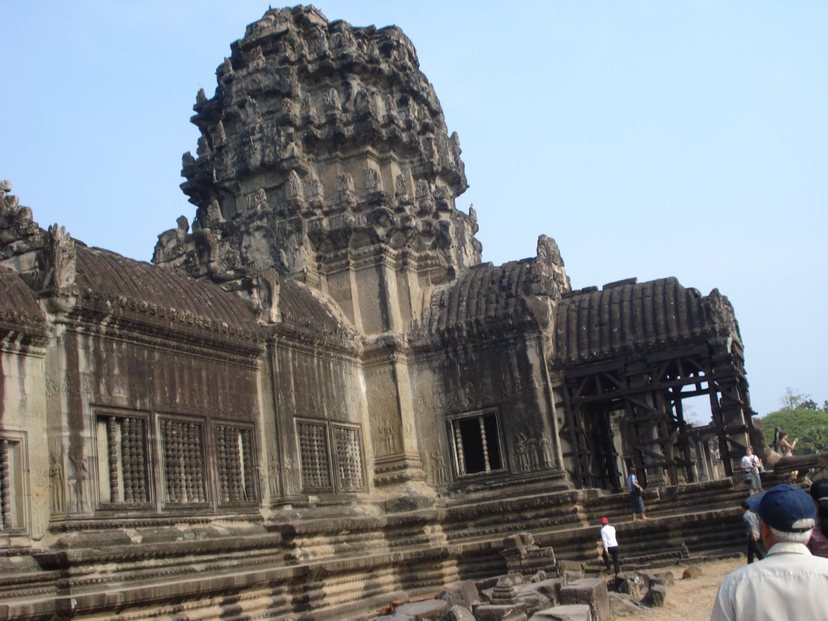 A small section of the Temple at Angkor Wat in Siem Reap Srok Khmer Cambodia