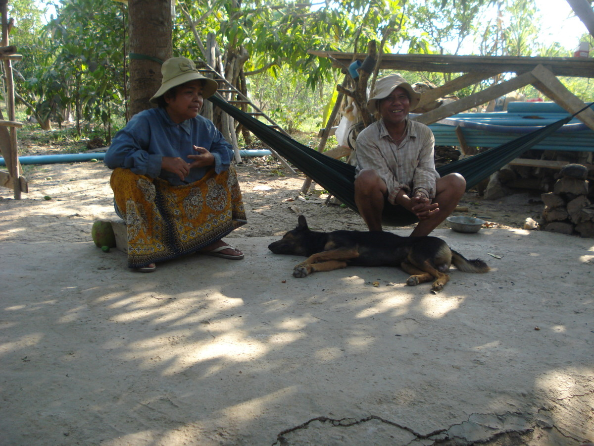 The Author's In-laws Relaxing in the heat in Cambodia Srok Khmer