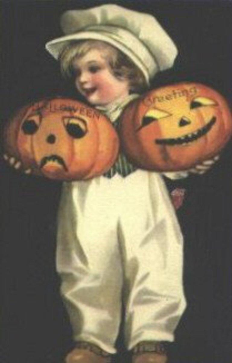 Boy With Twin Jack-O-Lanterns