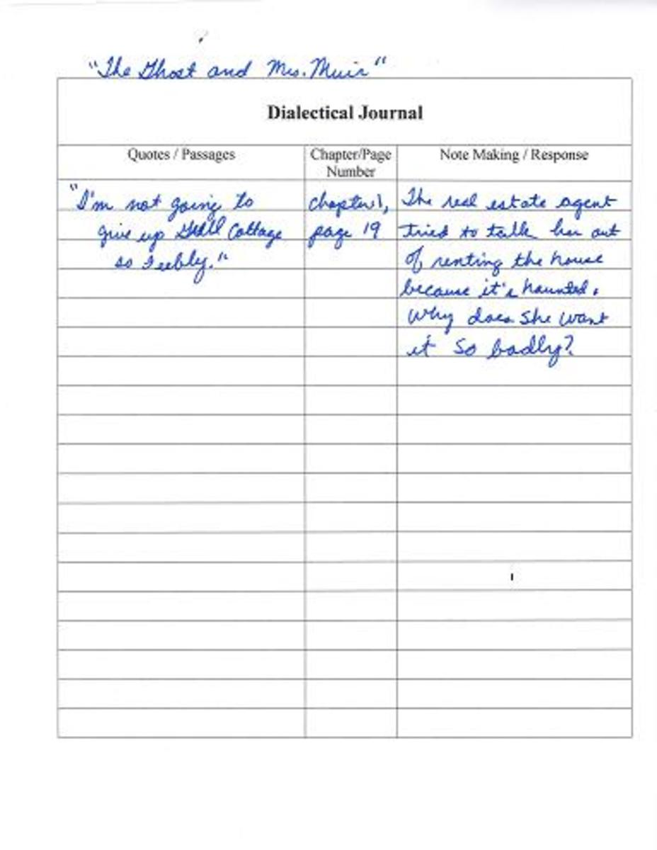 Fill in the dialectical journal by quoting a passage, giving the page number, and making notes about the meaning of the passage.