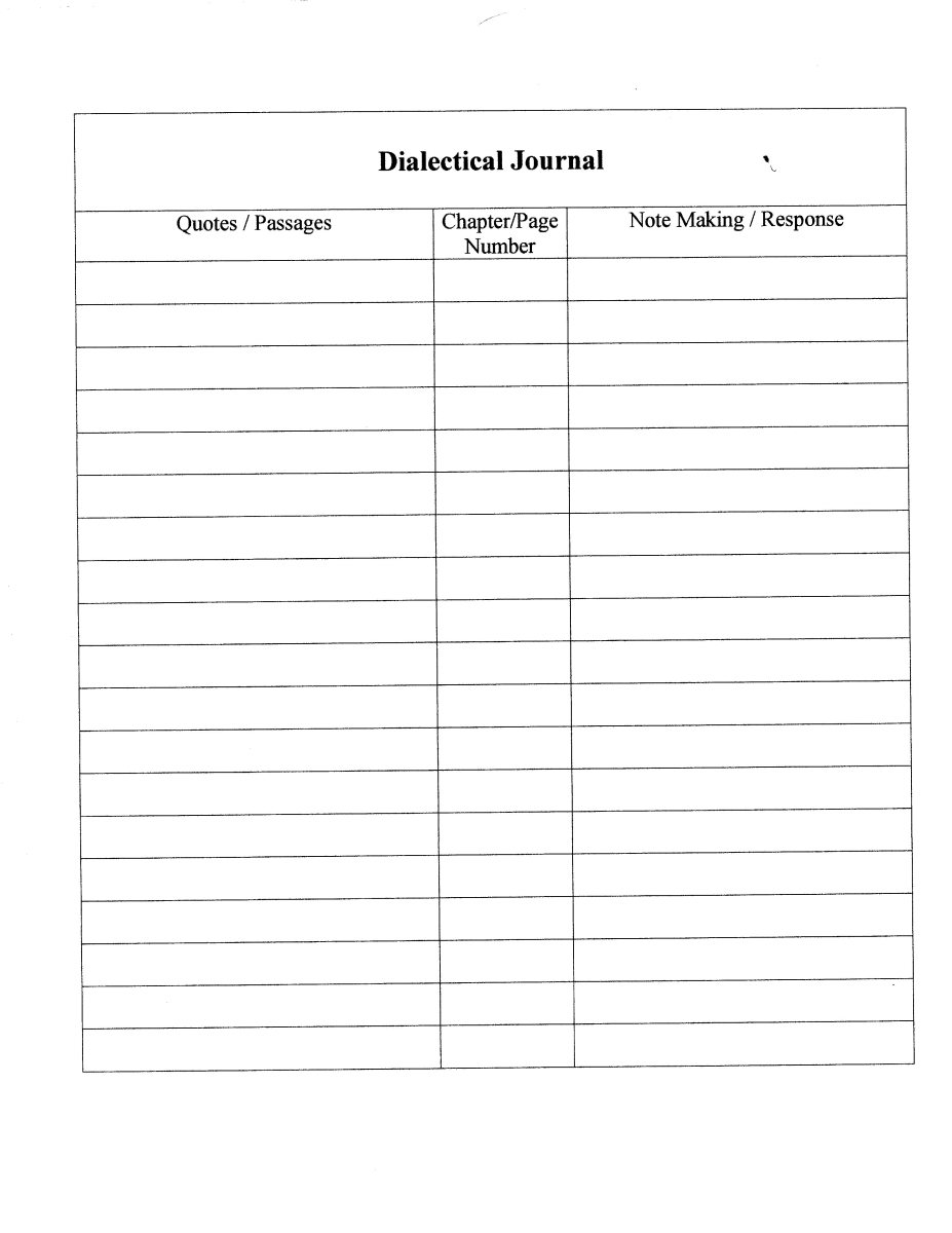 Use this format for creating your dialectical journal pages.