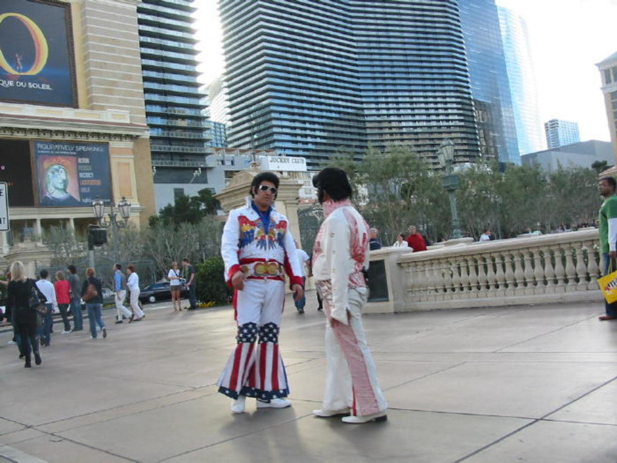 "A picture I've named ""The Elvi""! :) Two Elvis impersonators on the strip."