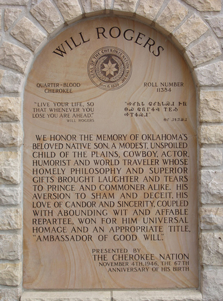 Cherokee Values, American Values: Tribute plaque from the Cherokee people to Will Rogers.
