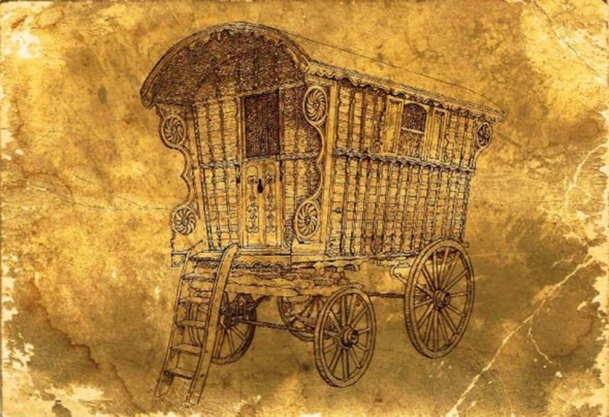Gypsy Caravan 1887, public domain
