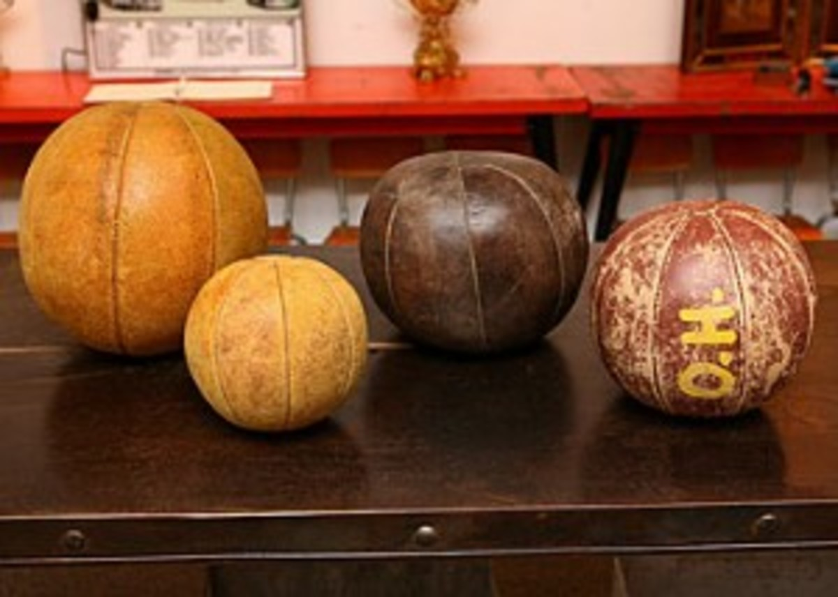 Collection of Vintage Leather Medicine Balls