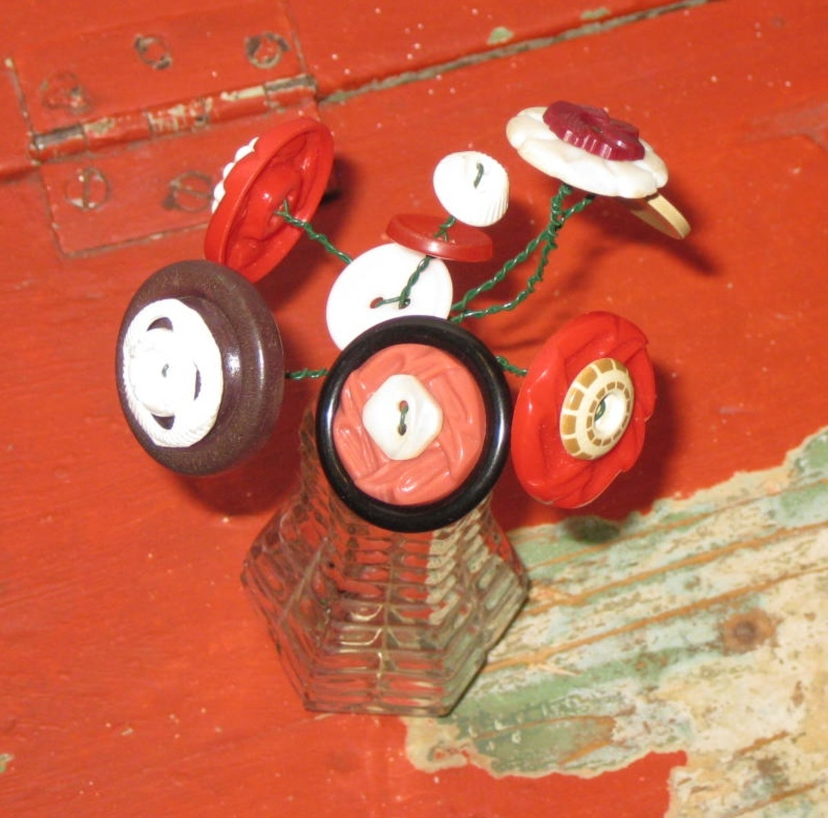 Reds and Browns and More -- Button Bouquet in Glass Shaker