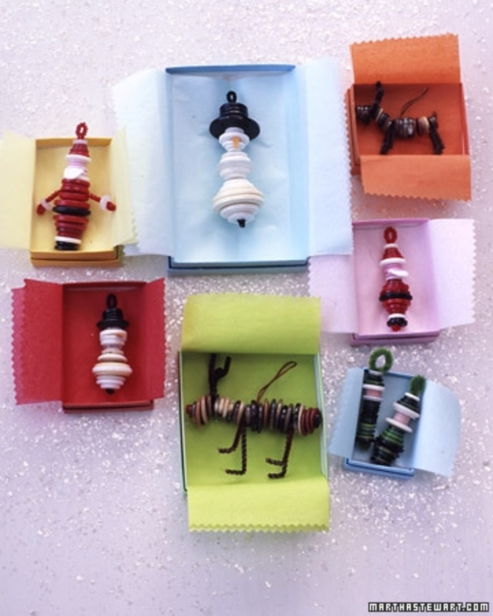 Button ornaments:  Santa, snowman, reindeer and more. See the link below. Courtesy of MarthaStewart.com.