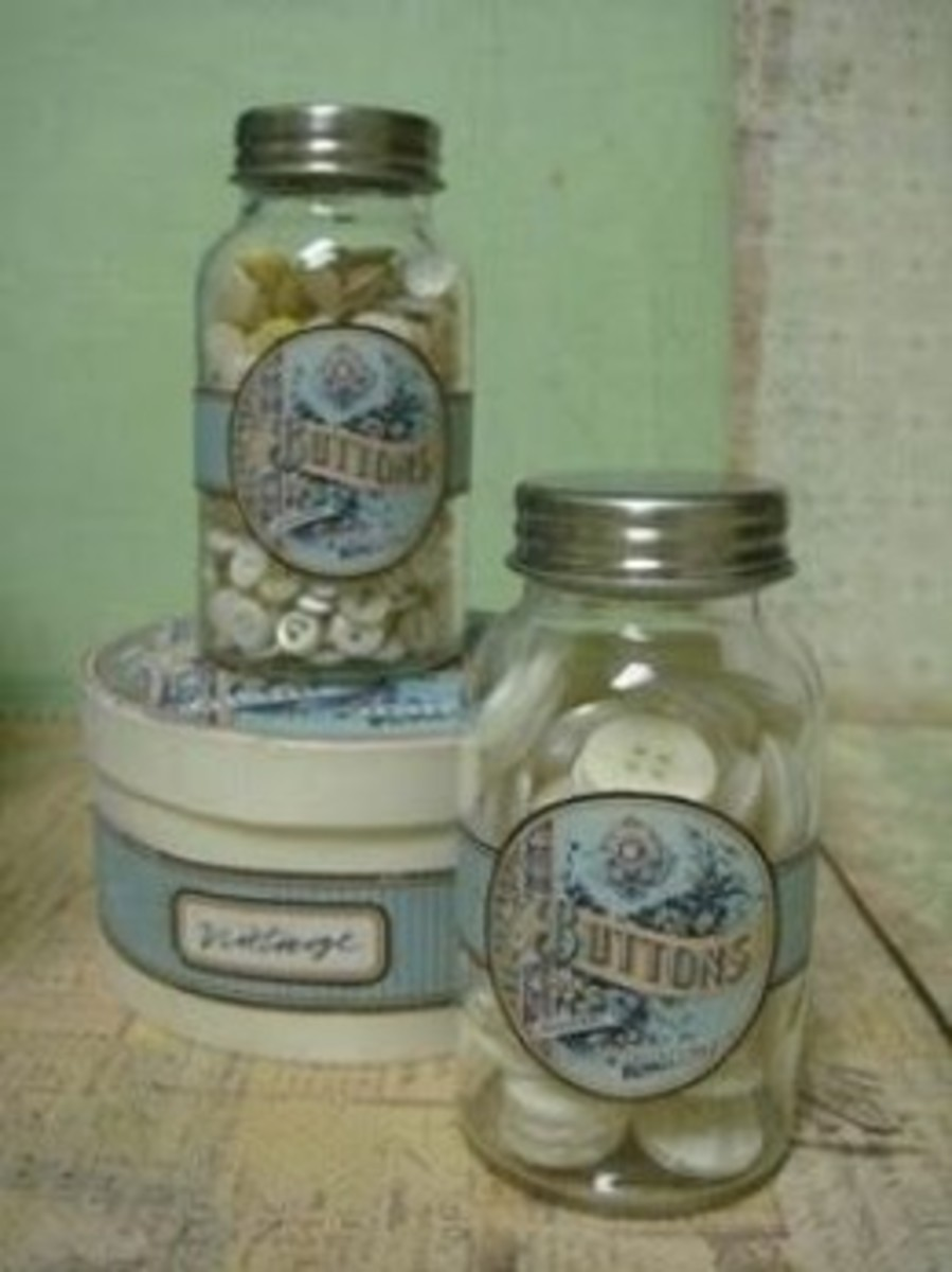 Button Jars from Just Something I Made with The Graphics Fairy labels.